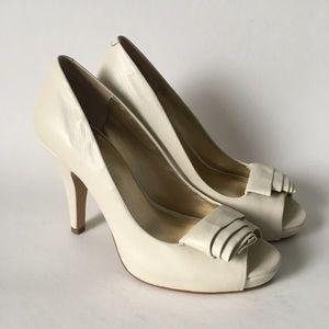 Nine West Ivory Peep Toe Heels